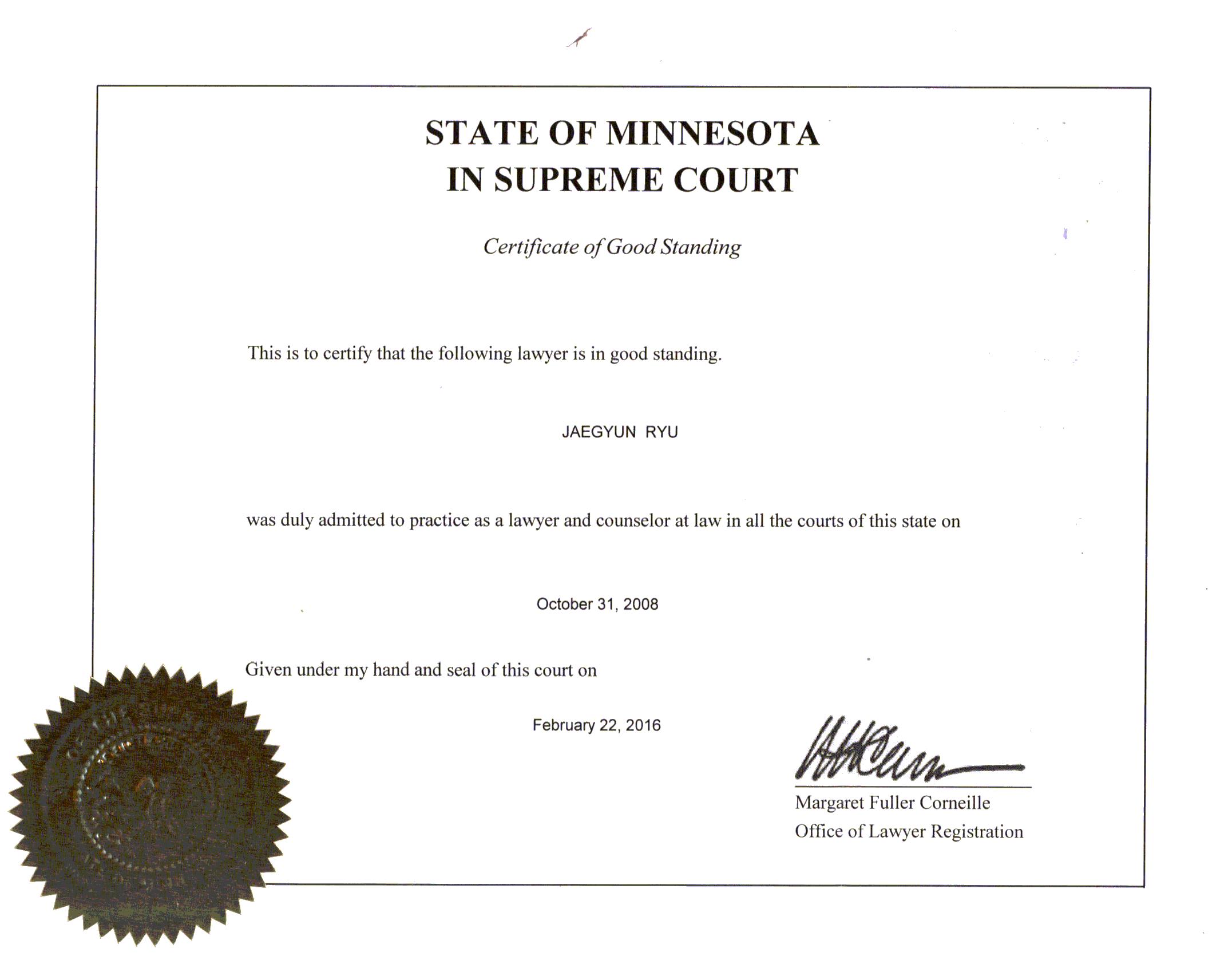 MN certificate