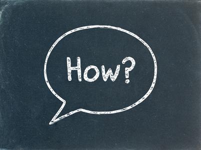 """""""HOW?"""" Speech Bubble on Blackboard (user manual guide questions)"""